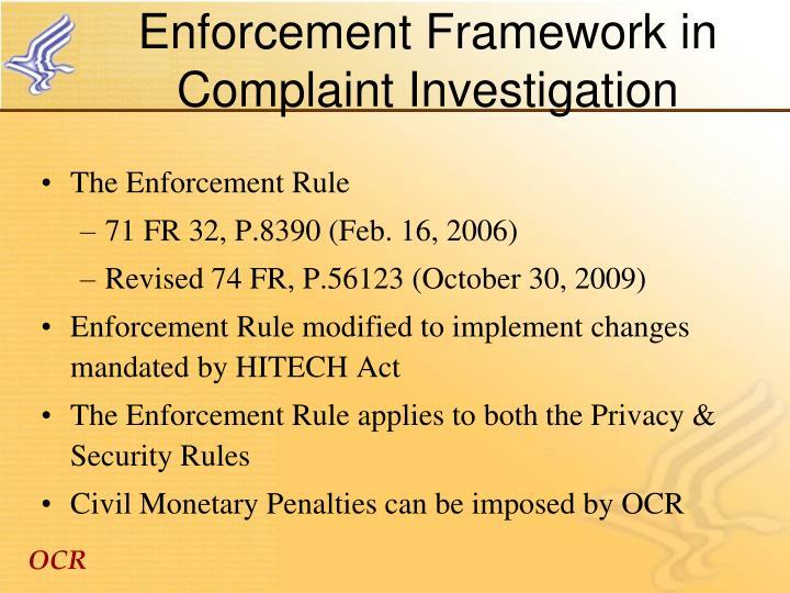 Enforcement Framework in Complaint Investigation