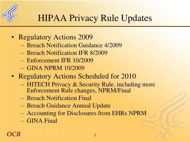 HIPAA Privacy Rule Updates