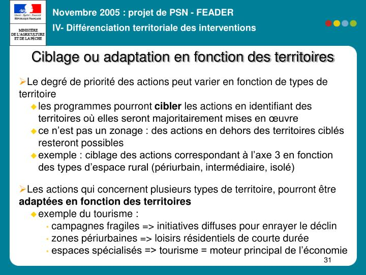 IV- Différenciation territoriale des interventions