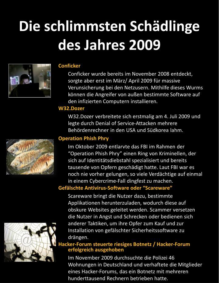 Die schlimmsten sch dlinge des jahres 2009