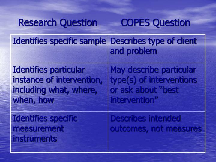 Research QuestionCOPES Question