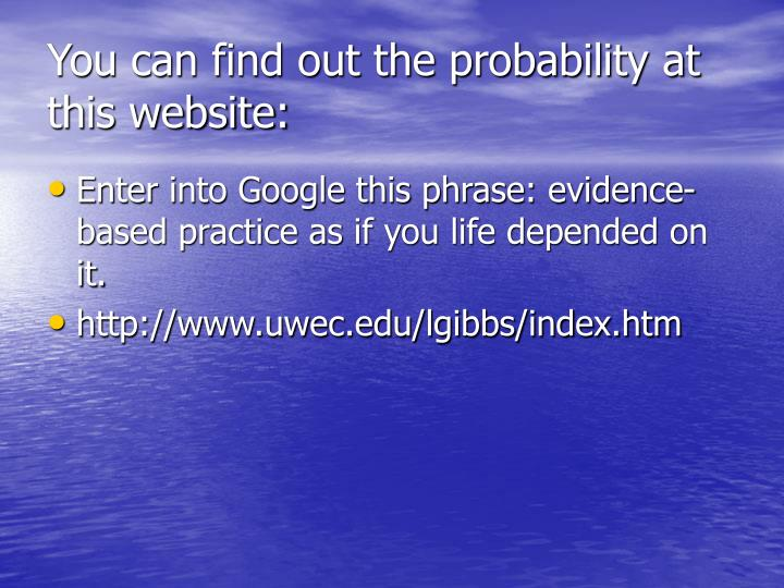 You can find out the probability at this website: