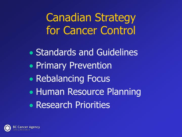 Canadian strategy for cancer control