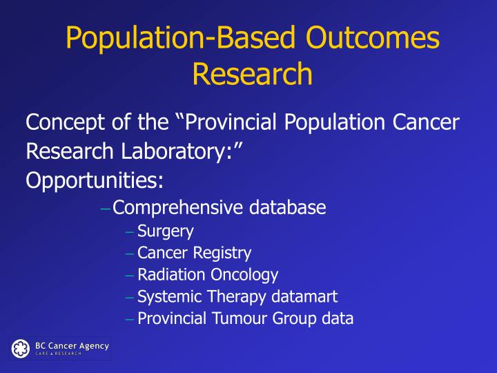 Population-Based Outcomes Research
