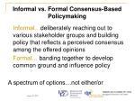 informal vs formal consensus based policymaking