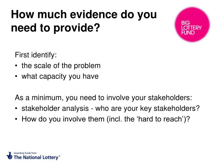 How much evidence do you need to provide?