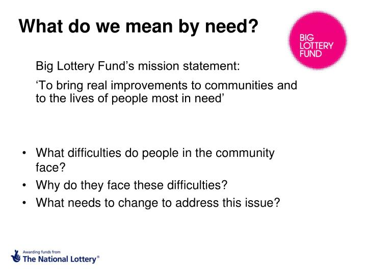 What do we mean by need