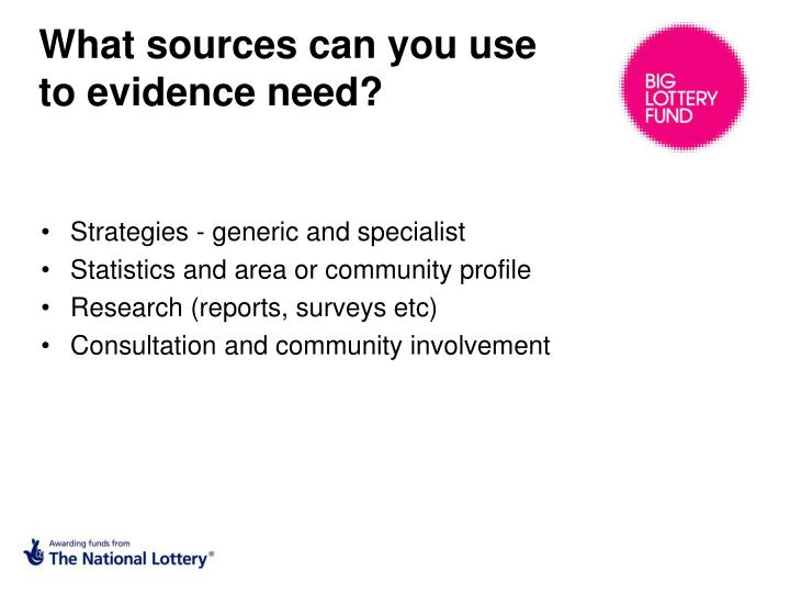 What sources can you use to evidence need?