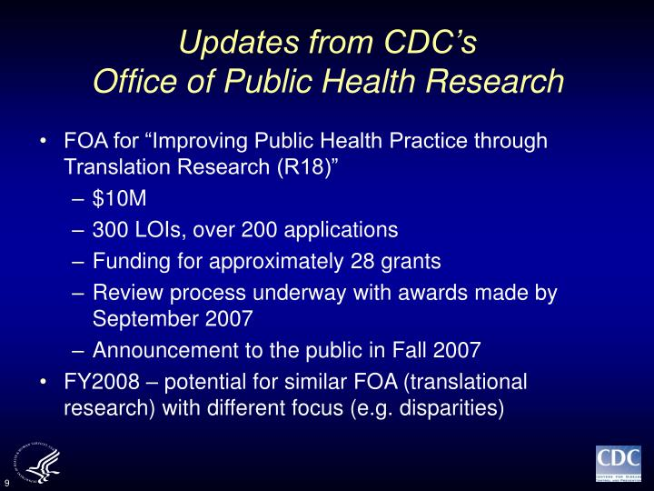 Updates from CDC's