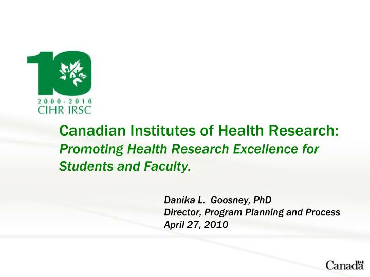 Canadian Institutes of Health Research: