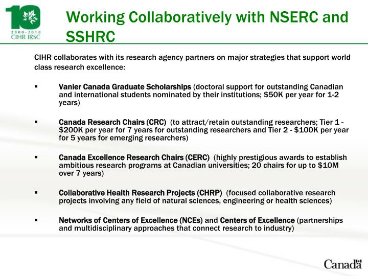 Working Collaboratively with NSERC and SSHRC