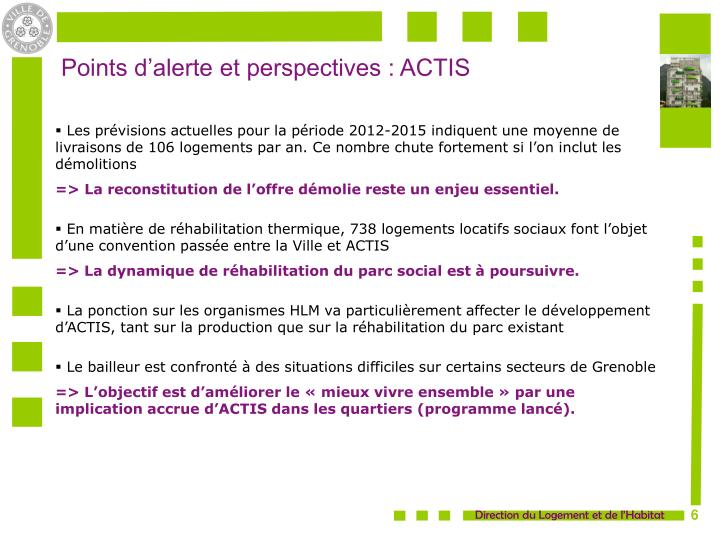 Points d'alerte et perspectives : ACTIS