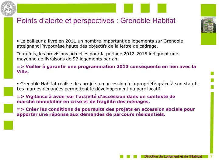 Points d'alerte et perspectives : Grenoble Habitat