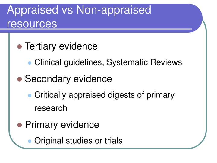 Appraised vs Non-appraised resources