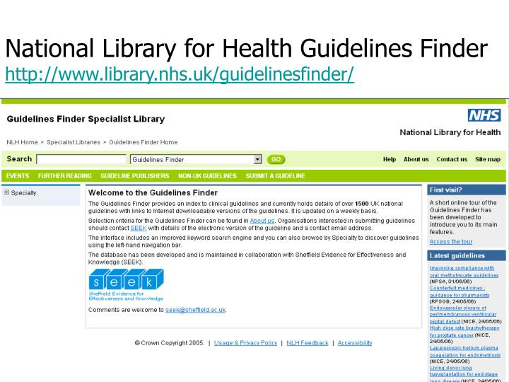 National Library for Health Guidelines Finder