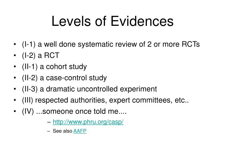 Levels of Evidences