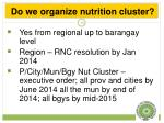 do we organize nutrition cluster