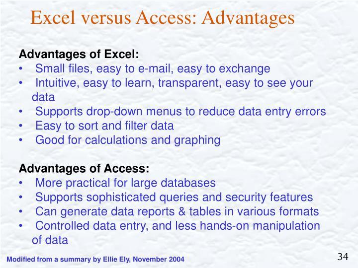 Excel versus Access: Advantages