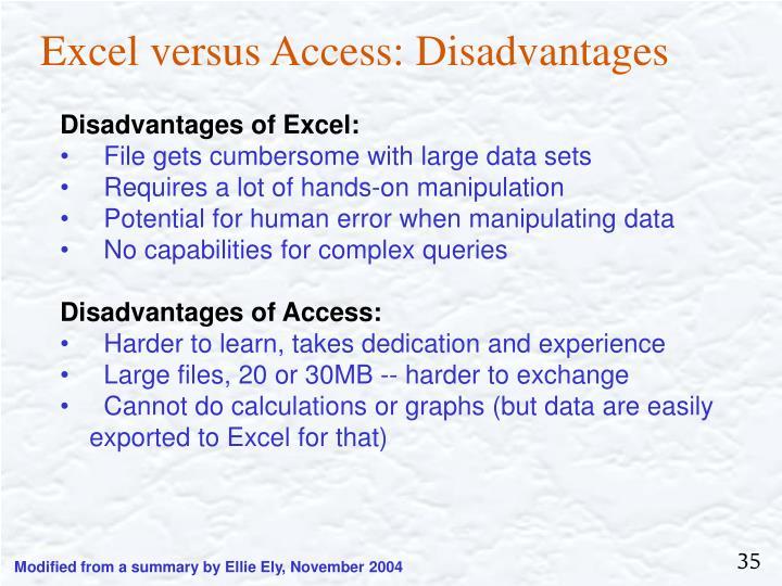 Excel versus Access: Disadvantages