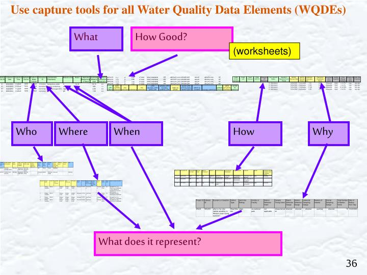 Use capture tools for all Water Quality Data Elements (WQDEs)