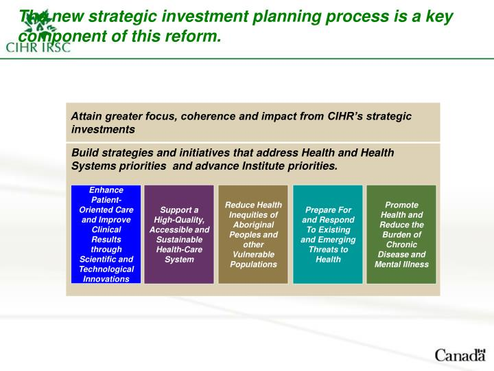 The new strategic investment planning process is a key component of this reform.