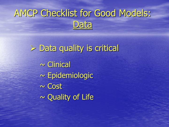 AMCP Checklist for Good Models: