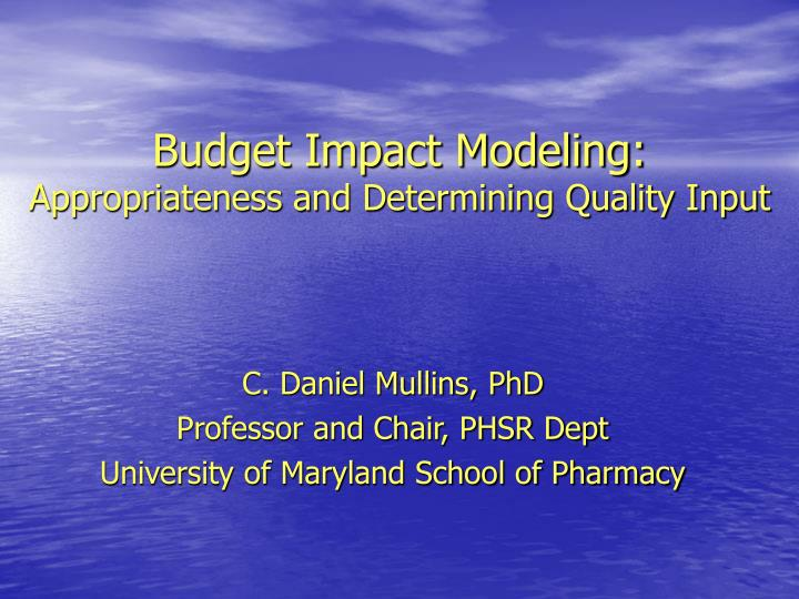 Budget impact modeling appropriateness and determining quality input