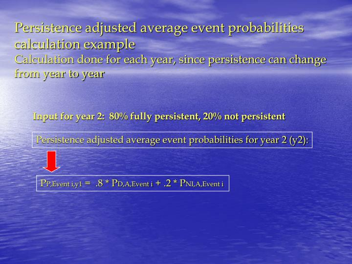 Persistence adjusted average event probabilities for year 2 (y2):