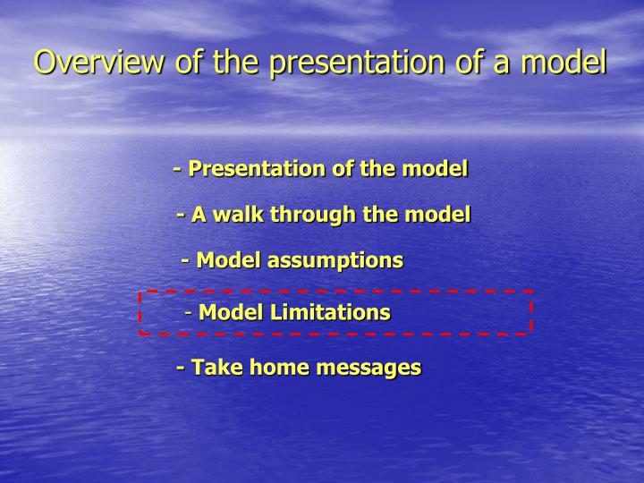 Overview of the presentation of a model