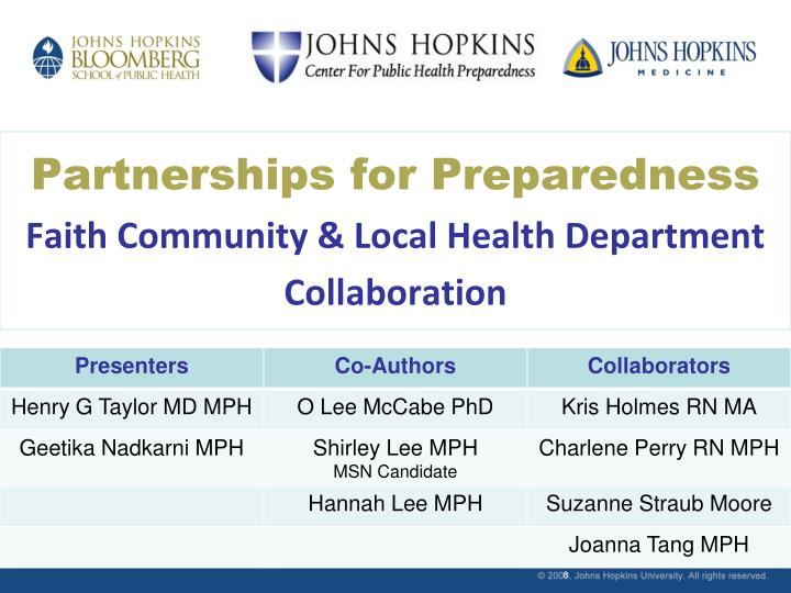 partnerships for preparedness faith community local health department collaboration n.