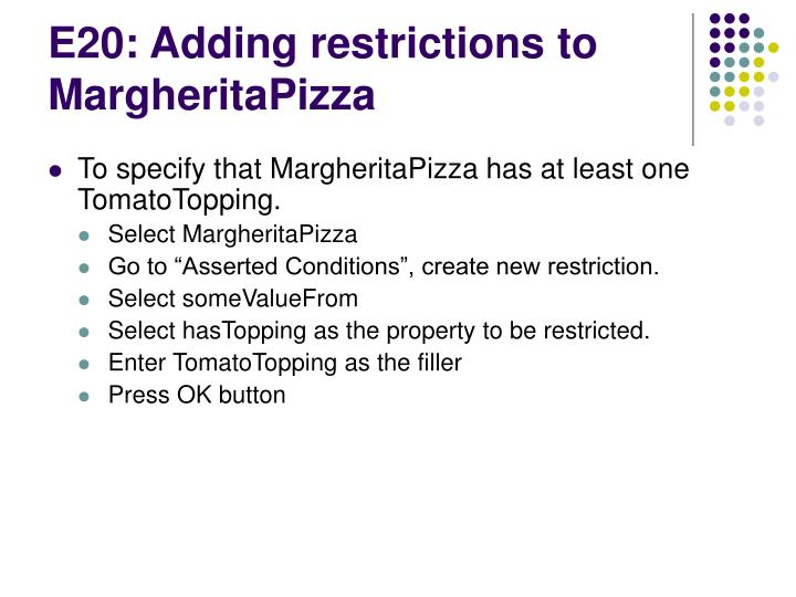 E20: Adding restrictions to MargheritaPizza