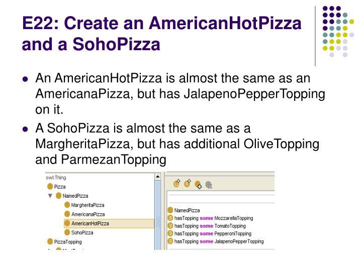 E22: Create an AmericanHotPizza and a SohoPizza