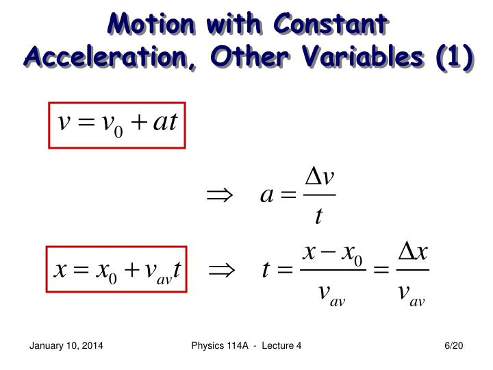 Motion with Constant Acceleration, Other Variables (1)