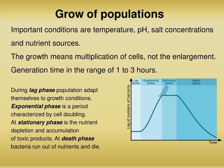 optimal growth conditions and generation time