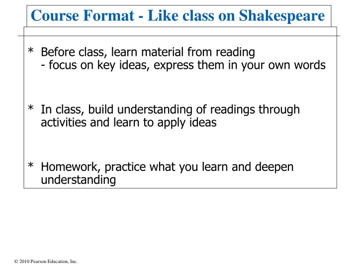 Before class, learn material from reading
