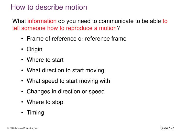 How to describe motion