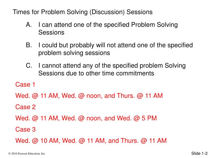 Times for Problem Solving (Discussion) Sessions