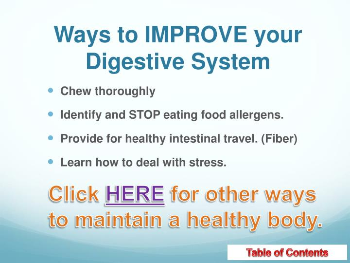 Ways to IMPROVE your Digestive System