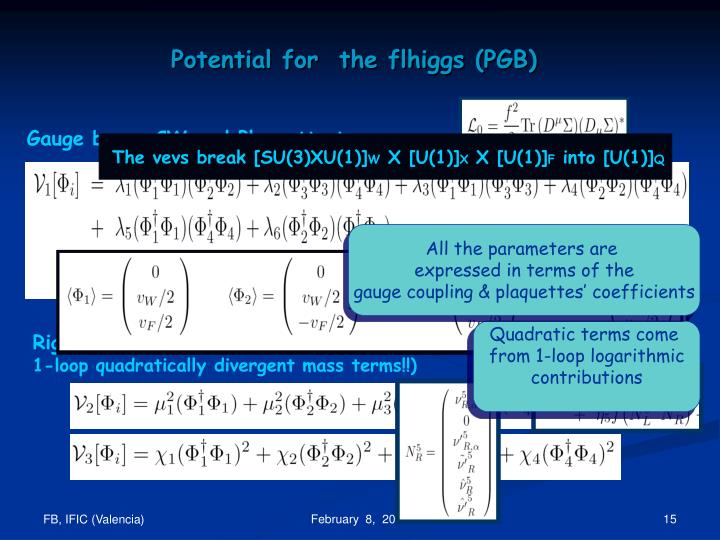 Potential for  the flhiggs (PGB)