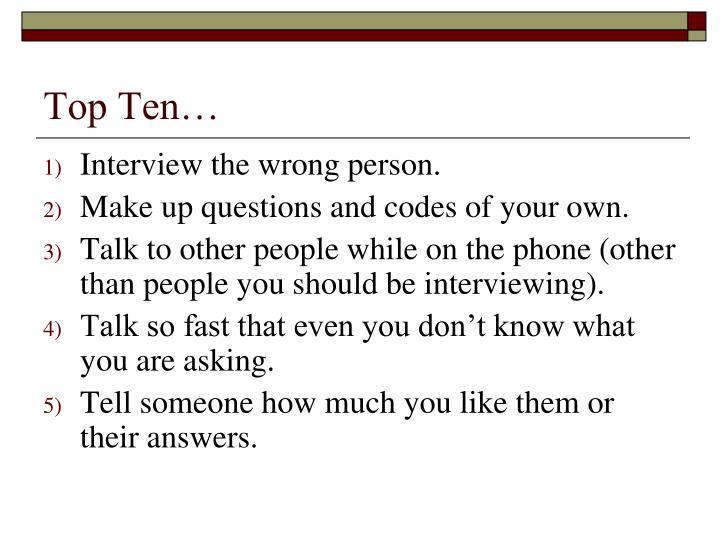 Top Ten…