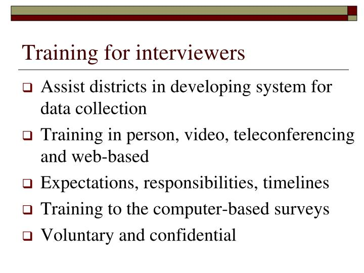 Training for interviewers