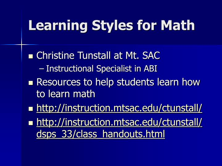 Learning Styles for Math
