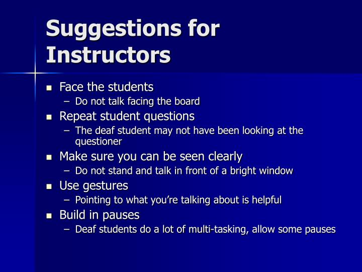 Suggestions for Instructors