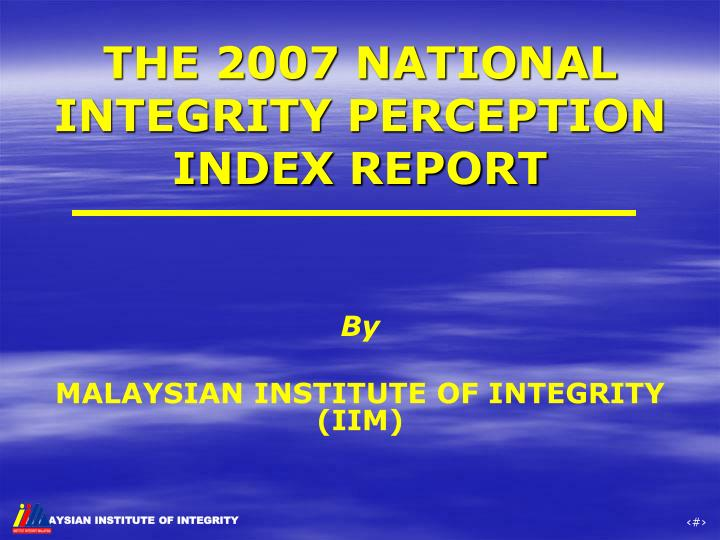 the 2007 national integrity perception index report n.