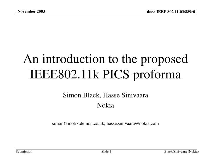 an introduction to the proposed ieee802 11k pics proforma n.