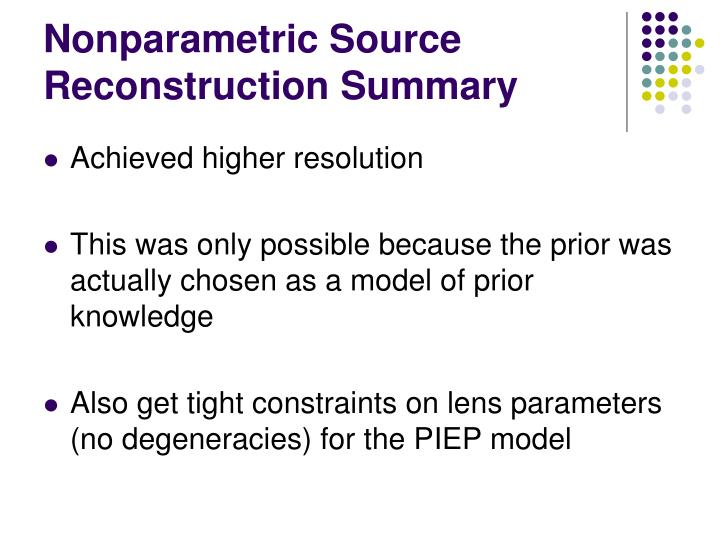 Nonparametric Source Reconstruction Summary