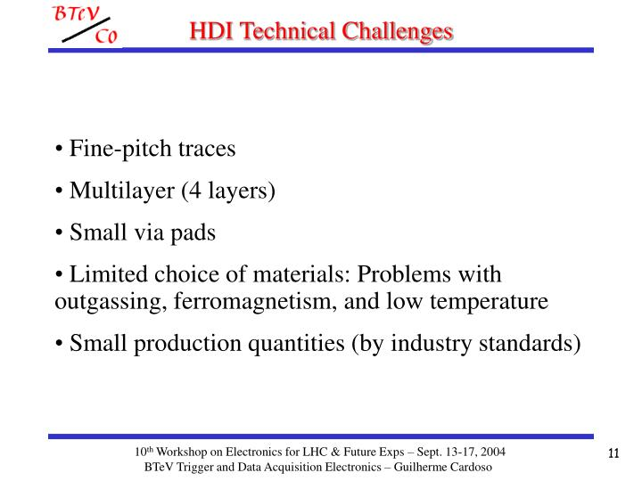 HDI Technical Challenges