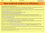 more empirical evidence on efficiency