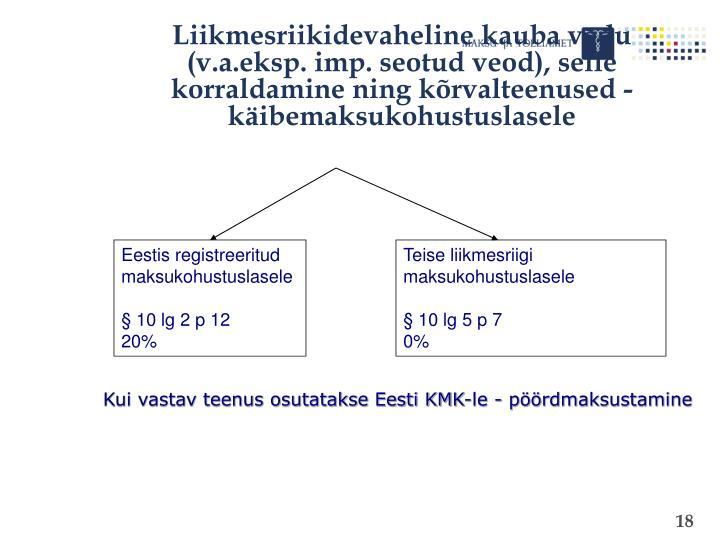 Liikmesriikidevaheline kauba vedu (v.a.eksp. imp. seotud veod), selle korraldamine ning kõrvalteenused - käibemaksukohustuslasele
