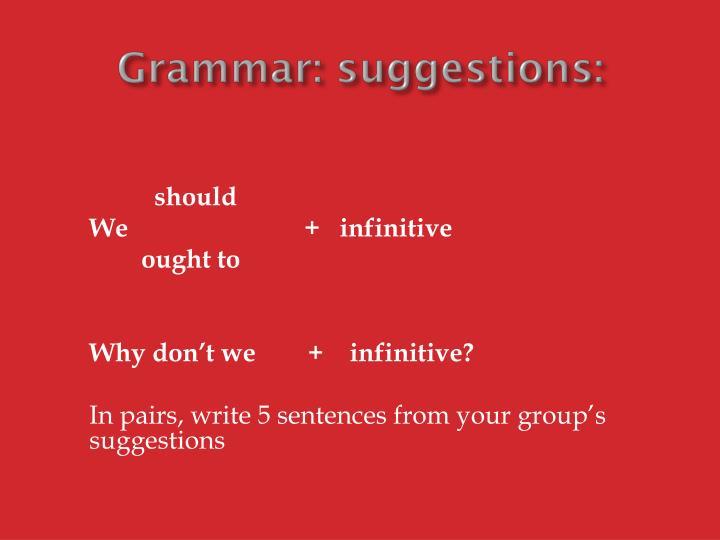 Grammar: suggestions: